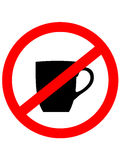 No cup sign icon. Coffee button. Red prohibition sign. Stop symbol. Royalty Free Stock Image
