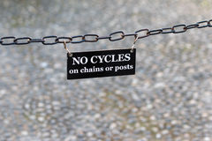 No Cycles Banner. No cycles on chains or posts stock photos