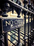 No cycles sign. On the metal gate near by charring cross station, London, UK Stock Photos
