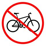 No cycling. Sign indicating prohibition of passing bicycle rules Royalty Free Stock Image