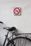 No cycling sign and bicycle Royalty Free Stock Photos