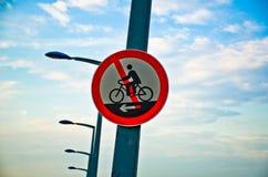 No cycling sign in a bridge. Warning sign-No cycling sign motorcycles Stock Image
