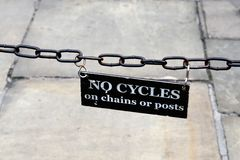 No Cycling sign on chain Stock Photography
