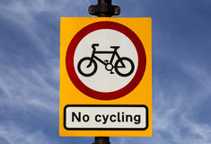 No Cycling Sign Royalty Free Stock Photo