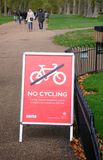 No Cycling sign in Hyde Park London UK Stock Photos
