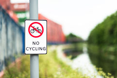 No cycling sign next to canal path Royalty Free Stock Photos