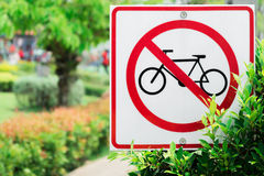 No cycling sign. No cycling sign in a park Royalty Free Stock Photography