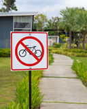 No cycling' sign Stock Images