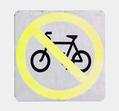 No cycling sign with yellow color on white background Stock Photo