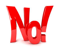 No - 3d text Royalty Free Stock Image