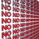 No 3d text wall Royalty Free Stock Photography