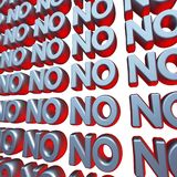 No 3d text wall Royalty Free Stock Image