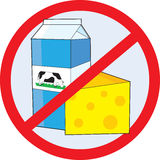 No Dairy. A red circle outline with a slash through it, is superimposed over a piece of cheese and a milk carton with a picture of a cow on the side, clearly Stock Image