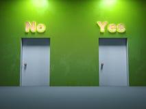 No. de duas maneiras da porta sim Imagem de Stock