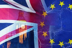 No Deal Brexit conceptual image of cracks over image of London with UK and EU flags in image. No Deal Brexit concept image of cracks over image of London with UK royalty free stock image
