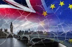 No Deal Brexit conceptual image of cracks over image of London with UK and EU flags in image. No Deal Brexit concept image of cracks over image of London with UK royalty free stock photo
