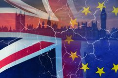 No Deal Brexit conceptual image of cracks over image of London with UK and EU flags in image. No Deal Brexit concept image of cracks over image of London with UK stock photography