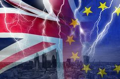 No Deal BREXIT conceptual image of lightning over London and UK and EU flags symbolising destruction of agreement stock images