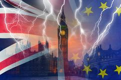No Deal BREXIT conceptual image of lightning over London and UK and EU flags symbolising destruction of agreement. No Deal BREXIT concept image of lightning over stock photo