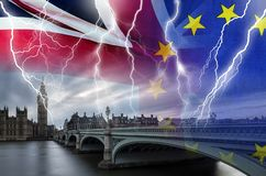 No Deal BREXIT conceptual image of lightning over London and UK and EU flags symbolising destruction of agreement. No Deal BREXIT concept image of lightning over stock photos