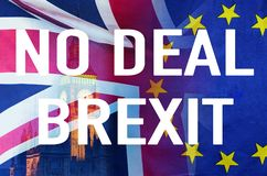 No Deal BREXIT conceptual image of text over London image and UK and EU flags symbolising destruction of agreement. No Deal BREXIT concept image of text over stock image