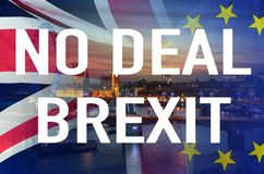 No Deal BREXIT conceptual image of text over London image and UK and EU flags symbolising destruction of agreement. No Deal BREXIT concept image of text over royalty free stock photos