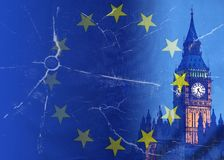 No Deal Brexit conceptual image of cracks over image of London w stock photos