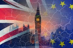 No Deal Brexit conceptual image of cracks over image of London with UK and EU flags in image. No Deal Brexit concept image of cracks over image of London with UK royalty free stock photos