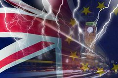 No Deal BREXIT conceptual image of lightning over London and UK and EU flags symbolising destruction of agreement. No Deal BREXIT concept image of lightning over royalty free stock photos