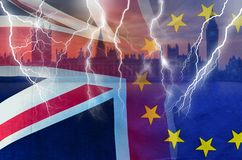 No Deal BREXIT conceptual image of lightning over London and UK and EU flags symbolising destruction of agreement. No Deal BREXIT concept image of lightning over royalty free stock images