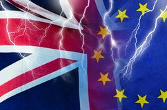 No Deal BREXIT conceptual image of lightning over London and UK and EU flags symbolising destruction of agreement. No Deal BREXIT concept image of lightning over royalty free stock photography