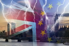 No Deal BREXIT conceptual image of lightning over London and UK and EU flags symbolising destruction of agreement royalty free stock photos
