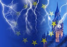 No Deal BREXIT conceptual image of lightning over London and UK and EU flags symbolising destruction of agreement stock image