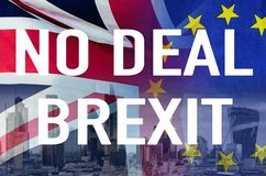No Deal BREXIT conceptual image of text over London image and UK and EU flags symbolising destruction of agreement stock photography