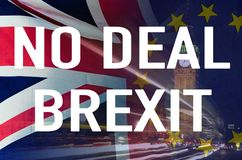 No Deal BREXIT conceptual image of text over London image and UK and EU flags symbolising destruction of agreement. No Deal BREXIT concept image of text over royalty free stock photography
