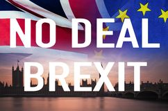 No Deal BREXIT conceptual image of text over London image and UK and EU flags symbolising destruction of agreement. No Deal BREXIT concept image of text over royalty free stock images