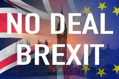 No Deal BREXIT conceptual image of text over London image and UK and EU flags symbolising destruction of agreement. No Deal BREXIT concept image of text over stock photography