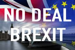 No Deal BREXIT conceptual image of text over London image and UK and EU flags symbolising destruction of agreement. No Deal BREXIT concept image of text over stock images