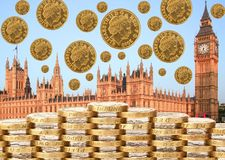 No deal with EU Brexit. UK Parliament edges towards Brexit deal. Parliament and coins royalty free stock image