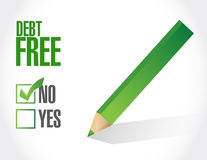 No debt free check mark sign concept. Illustration design over white Stock Images
