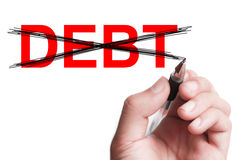 No Debt. Hand with pen is writing  No Debt on transparent white board Royalty Free Stock Photo
