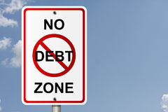No Debt Zone. An American road sign with sky background and copy space for your message, No Debt Zone Royalty Free Stock Photos