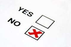 No. del voto Fotos de archivo