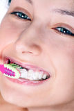 No dentist. A smiling girl cleans a teeth Royalty Free Stock Photos