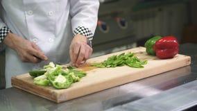 No desktop, o cozinheiro no uniforme corta as pimentas com uma faca vídeos de arquivo