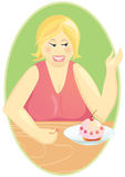 No diet. fat woman eating cupcake Royalty Free Stock Image