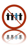 No different people sign. A no different people allowed symbol, over white with reflections royalty free illustration