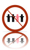 No different people sign. A no different people allowed symbol, over white with reflections stock illustration