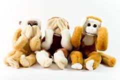 No diga, oiga, vea ningún mal al lado de los monos Imágenes de archivo libres de regalías