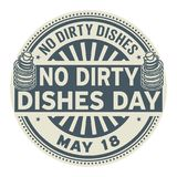 No Dirty Dishes Day stamp. No Dirty Dishes Day, May 18, rubber stamp, vector Illustration Stock Photography